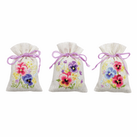Counted Cross Stitch Kit: Pot-Pourri Bag: Violets: Set of 3 By Vervaco