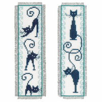 Counted Cross Stitch Kit: Bookmark: Cheerful Cats: Set of 2 By Vervaco