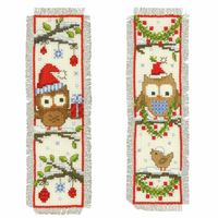 Counted Cross Stitch Kit: Bookmarks: Owls In Santa Hats: Set of 2 By Vervaco