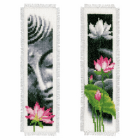 Counted Cross Stitch Kit: Bookmarks: Lotus & Buddha: Set of 2 By Vervaco