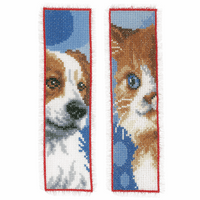 Counted Cross Stitch Kit: Bookmark: Cat & Dog: Set of 2 By Vervaco