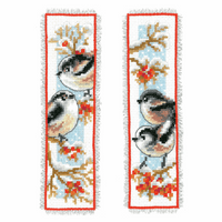 Counted Cross Stitch Kit: Bookmark: Long-Tailed Tits & Red Berries: Set of 2 By Vervaco