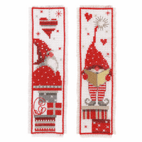Counted Cross Stitch Kit: Bookmark: Christmas Gnomes: Set of 2 By Vervaco