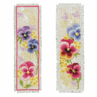 Counted Cross Stitch Kit: Bookmark Kit: Violets Set of 2 By Vervaco