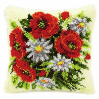 Latch Hook Kit: Cushion: Poppies By Vervaco