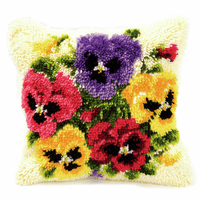 Latch Hook Kit: Cushion: Pansies By Vervaco