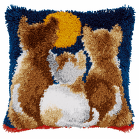 Latch Hook Kit: Cushion: Cats at Night By Vervaco