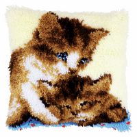 Latch Hook Kit: Cushion: Two Cats By Vervaco