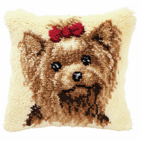 Latch Hook Kit: Cushion: Yorkshire Terrier By Vervcao