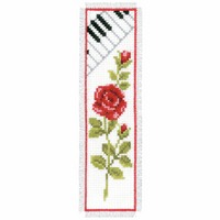 Counted Cross Stitch Kit: Bookmark: Rose & Piano By Vervaco