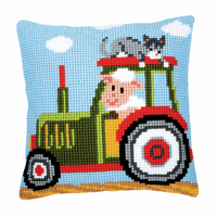 Cross Stitch Kit: Cushion: Tractor 1 By Vervaco