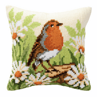 Cross Stitch Kit: Cushion: Robin