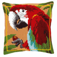 Cross Stitch Kit: Cushion: Red Macaw
