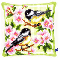 Cross Stitch Kit: Cushion: Birds and Blossoms
