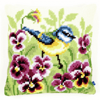 Cross Stitch Kit: Cushion: Blue Tit on Pansies