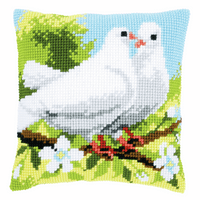Cross Stitch Kit: Cushion: White Pigeons by Vervaco