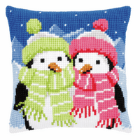 Cross Stitch Kit: Cushion: Penguins with Scarf By Vervaco