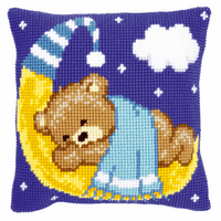 Cross Stitch Kit: Cushion: Teddy on the Moon: Blue By Vervaco
