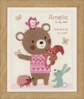 Counted Cross Stitch Kit: Birth Record: Cute Animal Friends by Vervaco