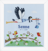 Counted Cross Stitch Kit: Birth Record: Stork by Vervaco
