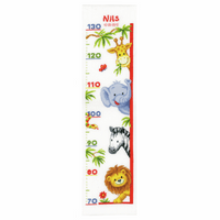 Counted Cross Stitch Kit: Height Chart: Zoo Animals by Vervaco