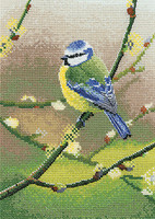 Blue tit cross stitch Kit on Evenweave By Heritage
