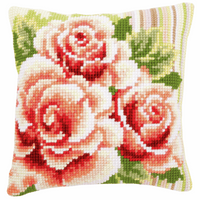 Cross Stitch Kit: Cushion: Pink Roses I By Vervaco