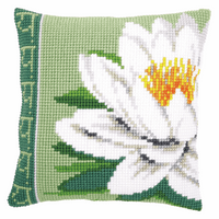 Cross Stitch Kit: Cushion: White Lotus Flower By Vervaco