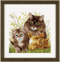 Counted Cross Stitch Kit: Cat Family By Vervaco