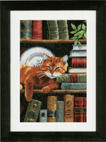 Counted Cross Stitch Kit: Cat on Bookshelf By Vervaco