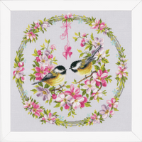 Counted Cross Stitch Kit: Great Tits in Flower Wreath By Vervaco