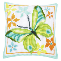 Cross Stitch Kit: Cushion: Green Butterfly by Vervaco
