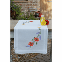 Flowers & Lavender Table Runner Cross Stitch Kit by Vervaco