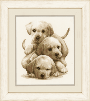 Counted Cross Stitch Kit: Labrador Puppies By Vervaco