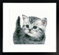 Counted Cross Stitch Kit: Grey Tiger Kitten By Vervaco
