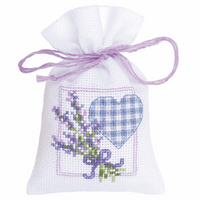 Counted Cross Stitch Kit: Pot-Pourri Bag: Lavender Heart By Vervaco