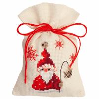 Counted Cross Stitch Kit: Pot-Pourri Bag: Santa & Lantern By Vervaco