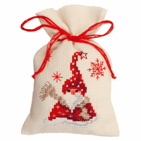 Counted Cross Stitch Kit: Pot-Pourri Bag: Santa & Scarf By Vervaco