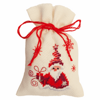 Counted Cross Stitch Kit: Pot-Pourri Bag: Santa & Present By Vervaco