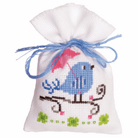 Counted Cross Stitch Kit: Pot-Pourri Bag: Blue Bird By Vervaco