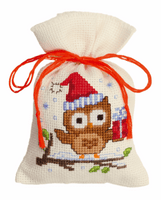 Counted Cross Stitch Kit: Pot-Pourri Bag: Owlet & Present By Vervaco