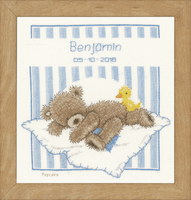 Counted Cross Stitch Kit: Birth Record: Popcorn Bear & Soufflé Duck By Vervaco