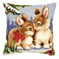Cross Stitch Kit: Cushion: Winter Scene Bunnies By Vervaco
