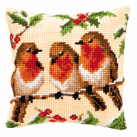 Cross Stitch Kit: Cushion: Robins By Vervaco