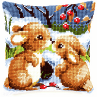 Cross Stitch Kit: Cushion: Snow Rabbits By Vervaco