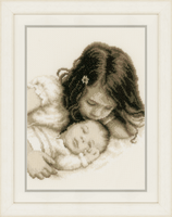 Counted Cross Stitch Kit: Baby and Sister By Vervaco