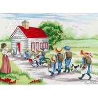 All our yesterdays Little Red School House Cross Stitch Kit