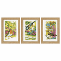 Counted Cross Stitch Kit: Miniatures: Garden Birds: Set of 3 By Vervaco