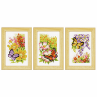 Counted Cross Stitch: Butterflies and Flowers (Set of 3) By Vervaco