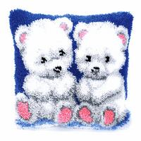 Latch Hook Kit: Cushion: Polar Bear Cubs By Vervaco